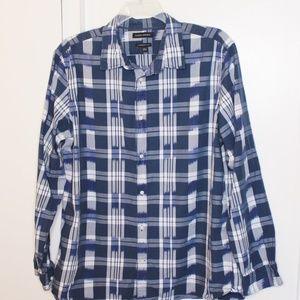 Banana Republic Blue Plaid Camden Fit Shirt XL